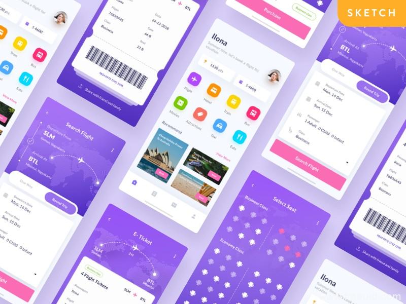 车票、飞机票线上购票系统App应用界面UI源文件下载