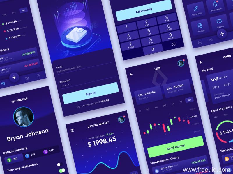 暗色系金融理财、比特币、虚拟货币、基金股票系统UI界面、数据可视化、仪表盘sketch源文件下载