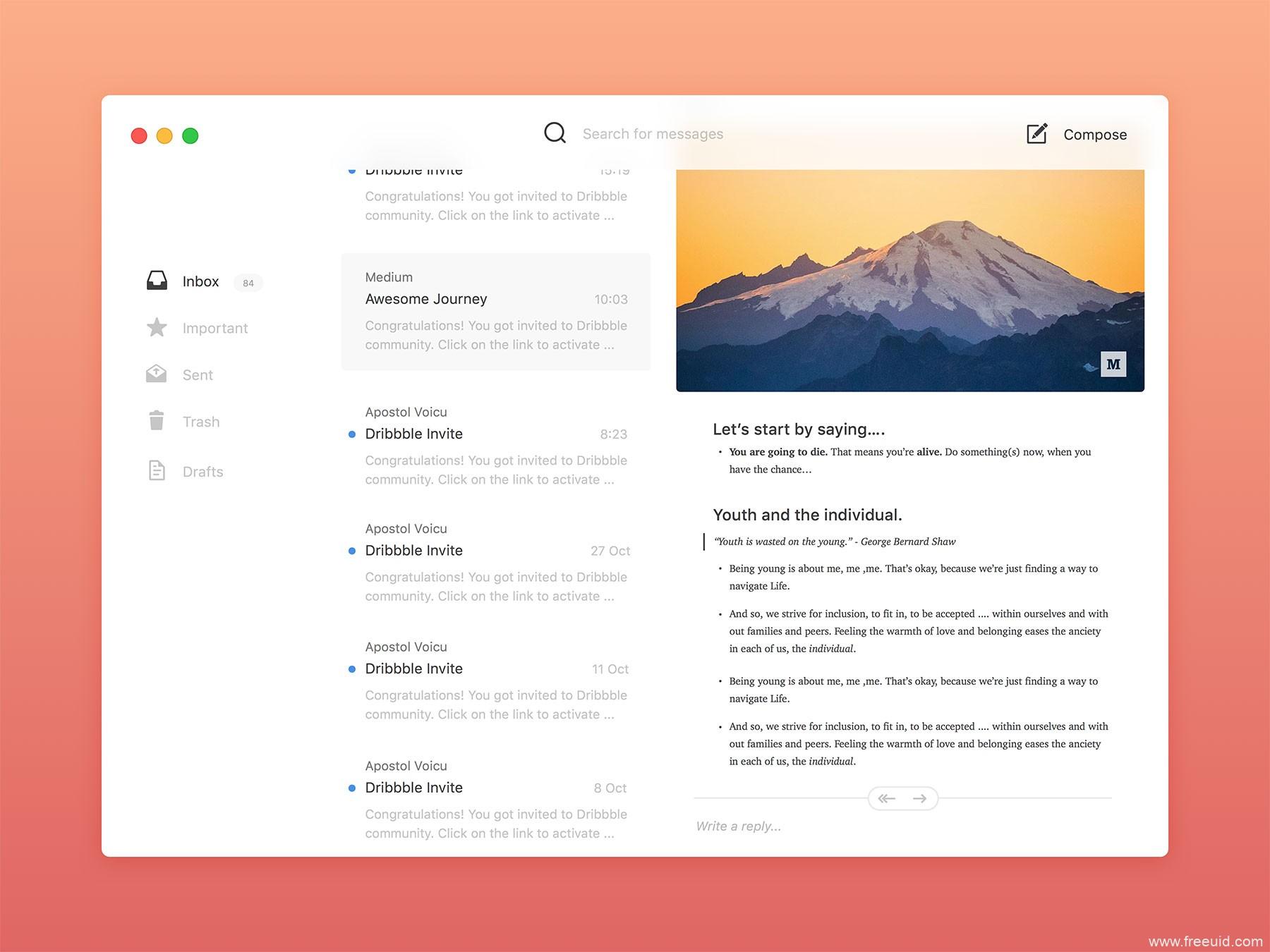Simple Mail App、邮件app界面sketch源文件下载