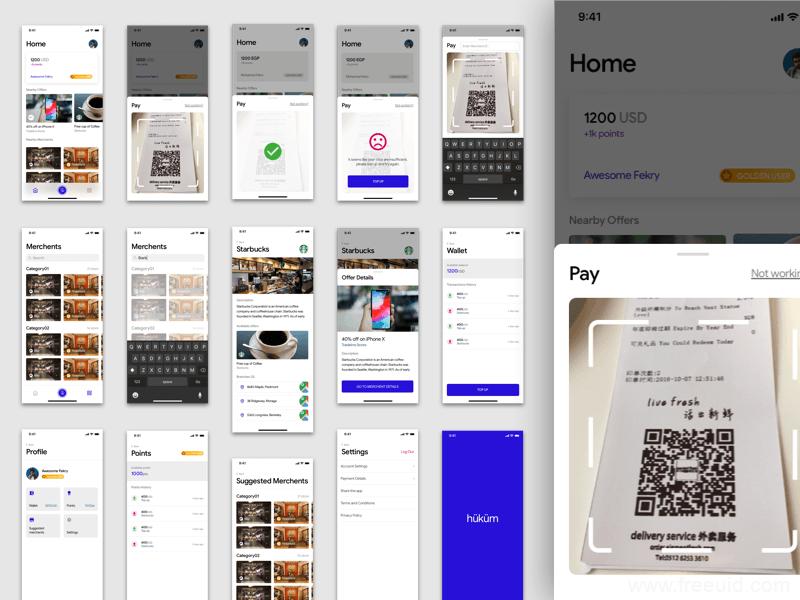 整套钱包应用概念APP界面、线上支付金融应用UI界面sketch源文件下载