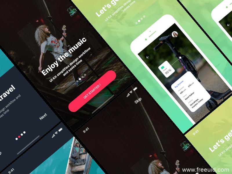 暗色系音乐应用UI界面、音乐展示界面sketch源文件下载