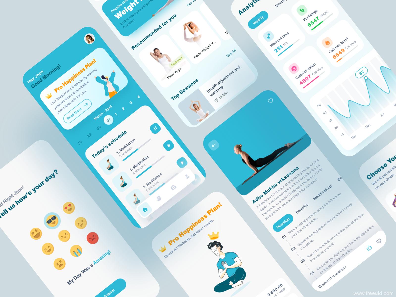2020年最新瑜伽健身APP UI设计源文件,瑜伽健身APP UI资源,xd源文件下载