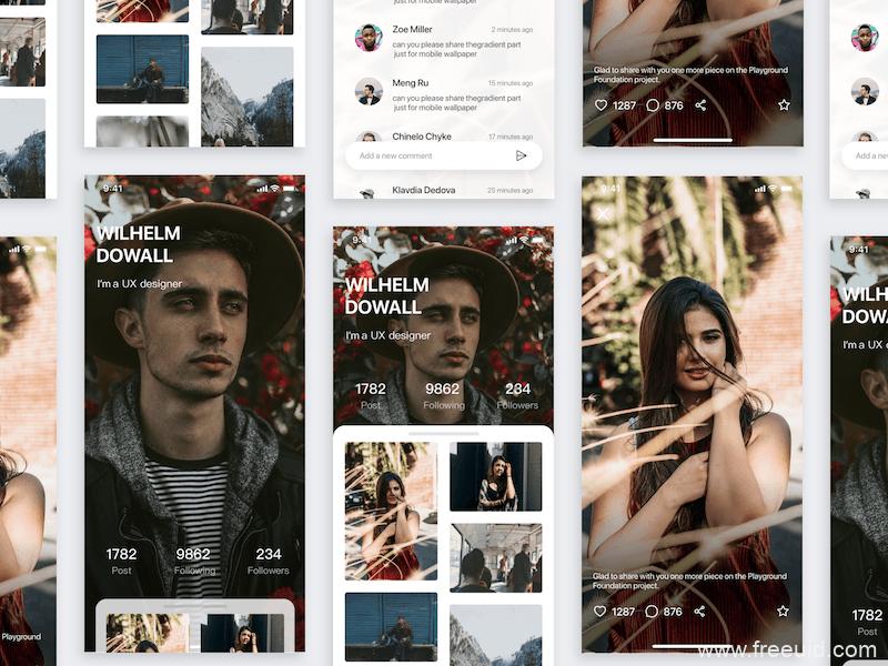 图片社交app应用界面、社交APP UI界面免费下载