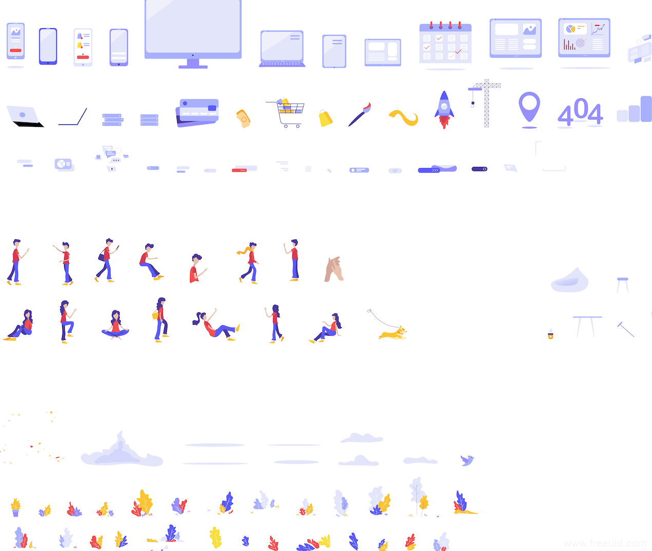 近百款插画组件库、场景插画、人物造型插画、装饰植物插画源文件下载