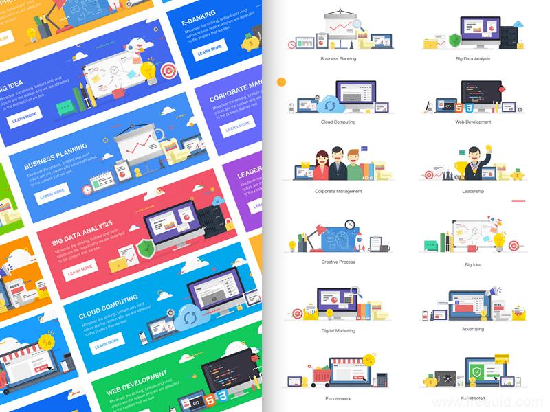 插画风UI组件、商务风插画素材、办公场景插画、线上购物插画等多款插画素材sketch、pdf、Ai、svg、png格式下载