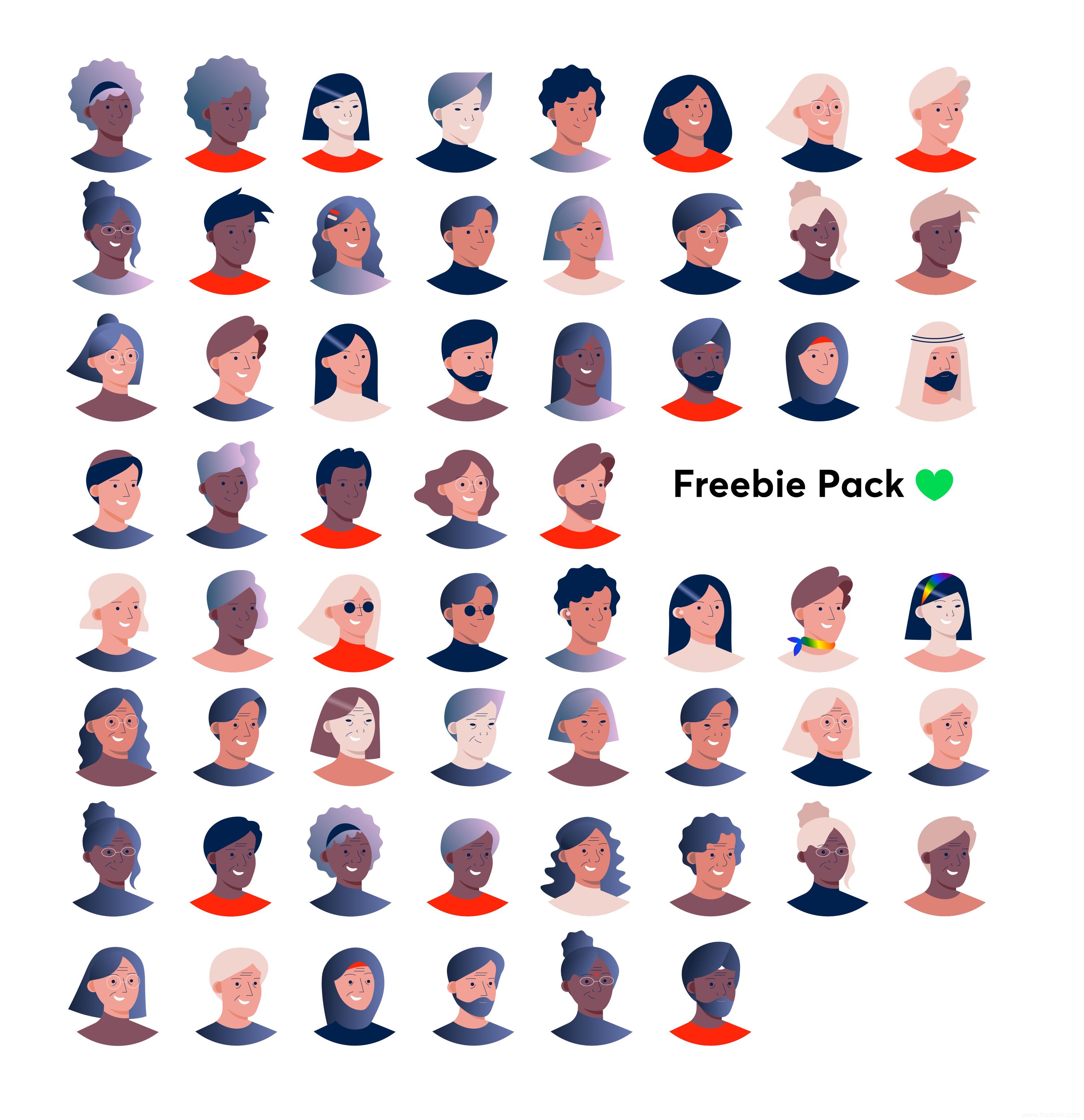 不同民族人物插画头像sketch源文件下载