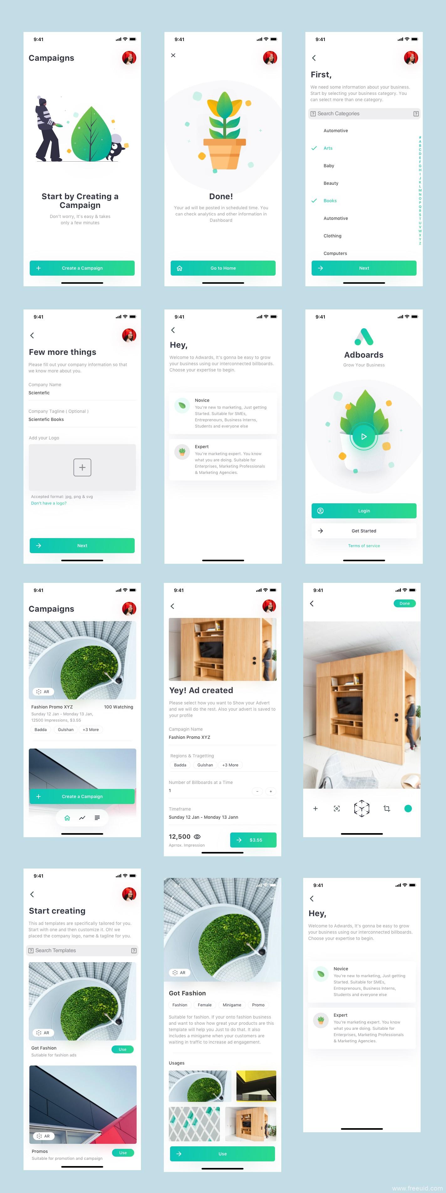 图片社交类应用UI界面、小清新社交app界面