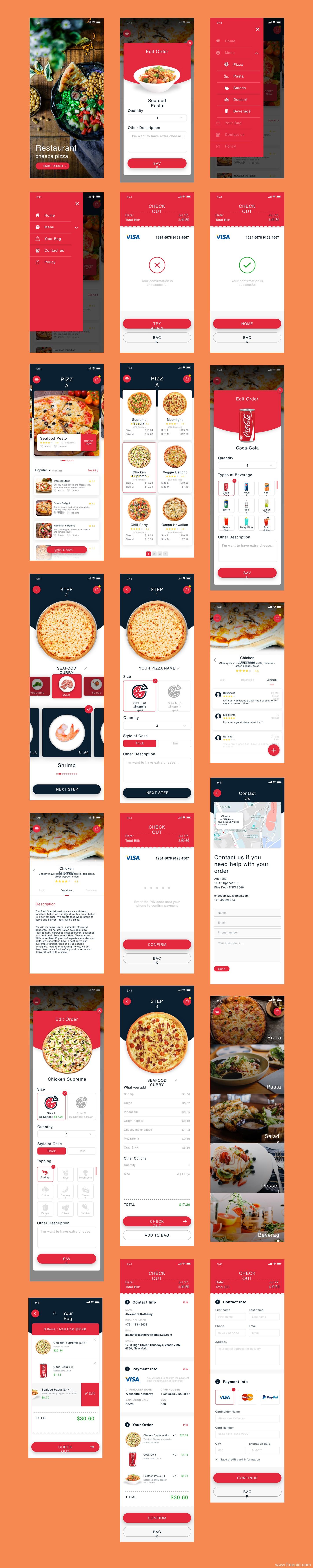 美食订餐系统应用app界面、美食UI界面sketch源文件下载