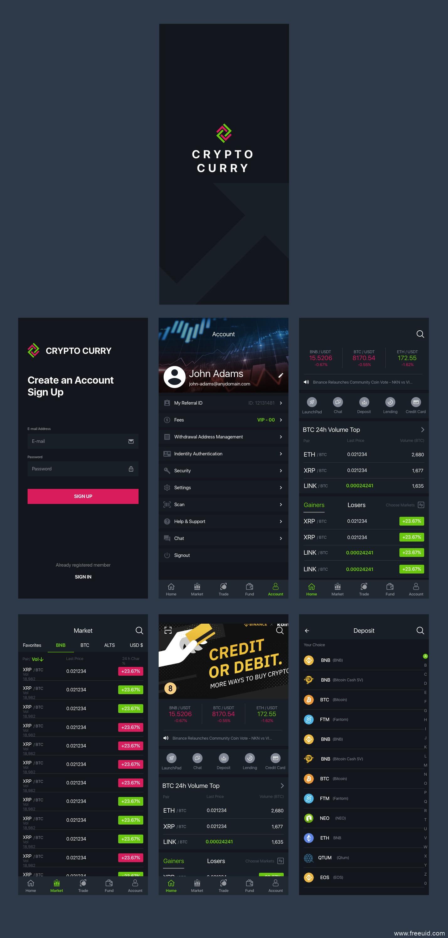 暗色系金融UI界面、区块链高端app界面sketch源文件下载