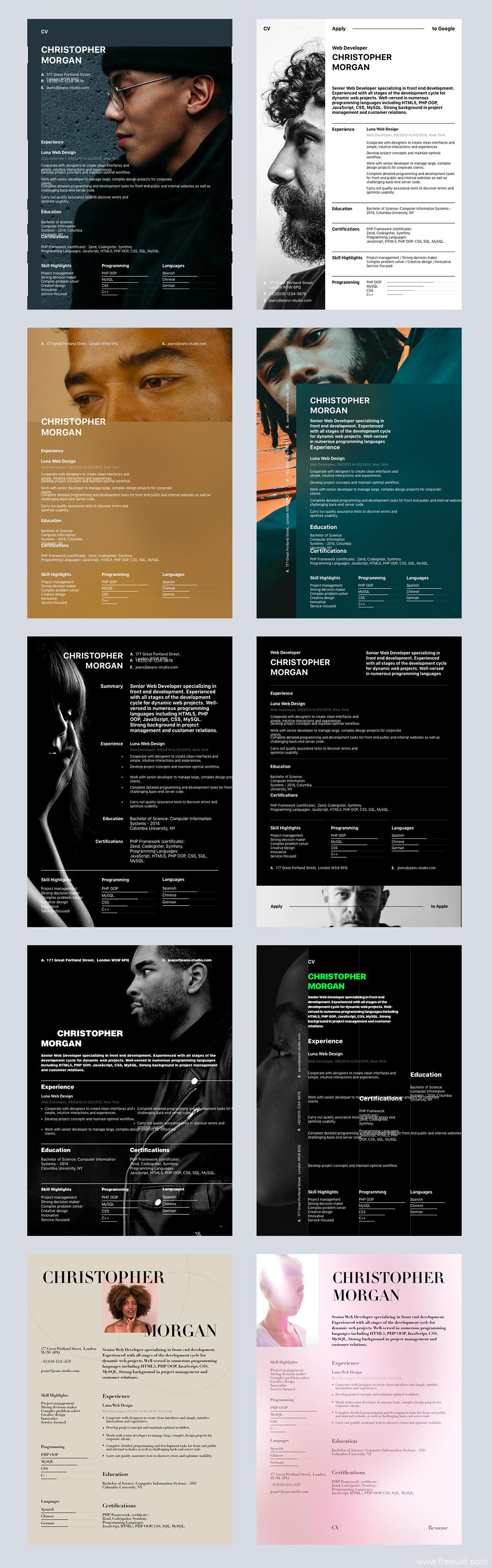 10多套高端大气设计师简历模板、设计师作品集简历包装UI界面