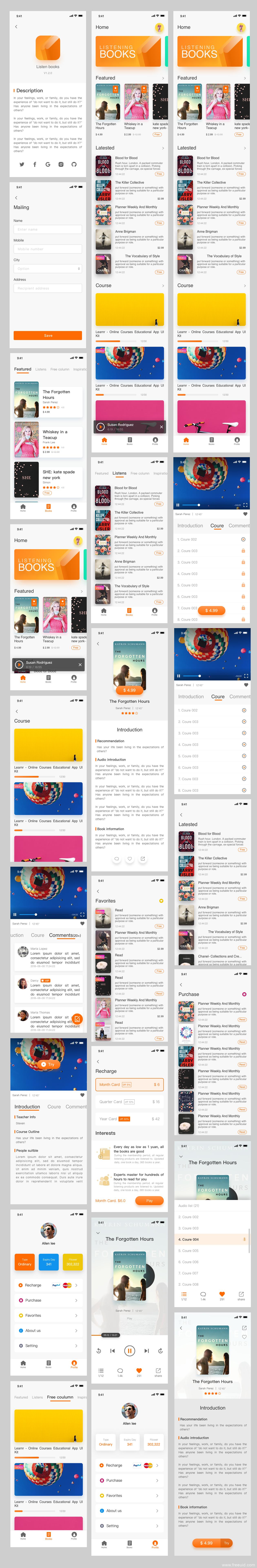 全套阅读类应用UI界面、全套知识付费应用APP界面sketch源文件下载