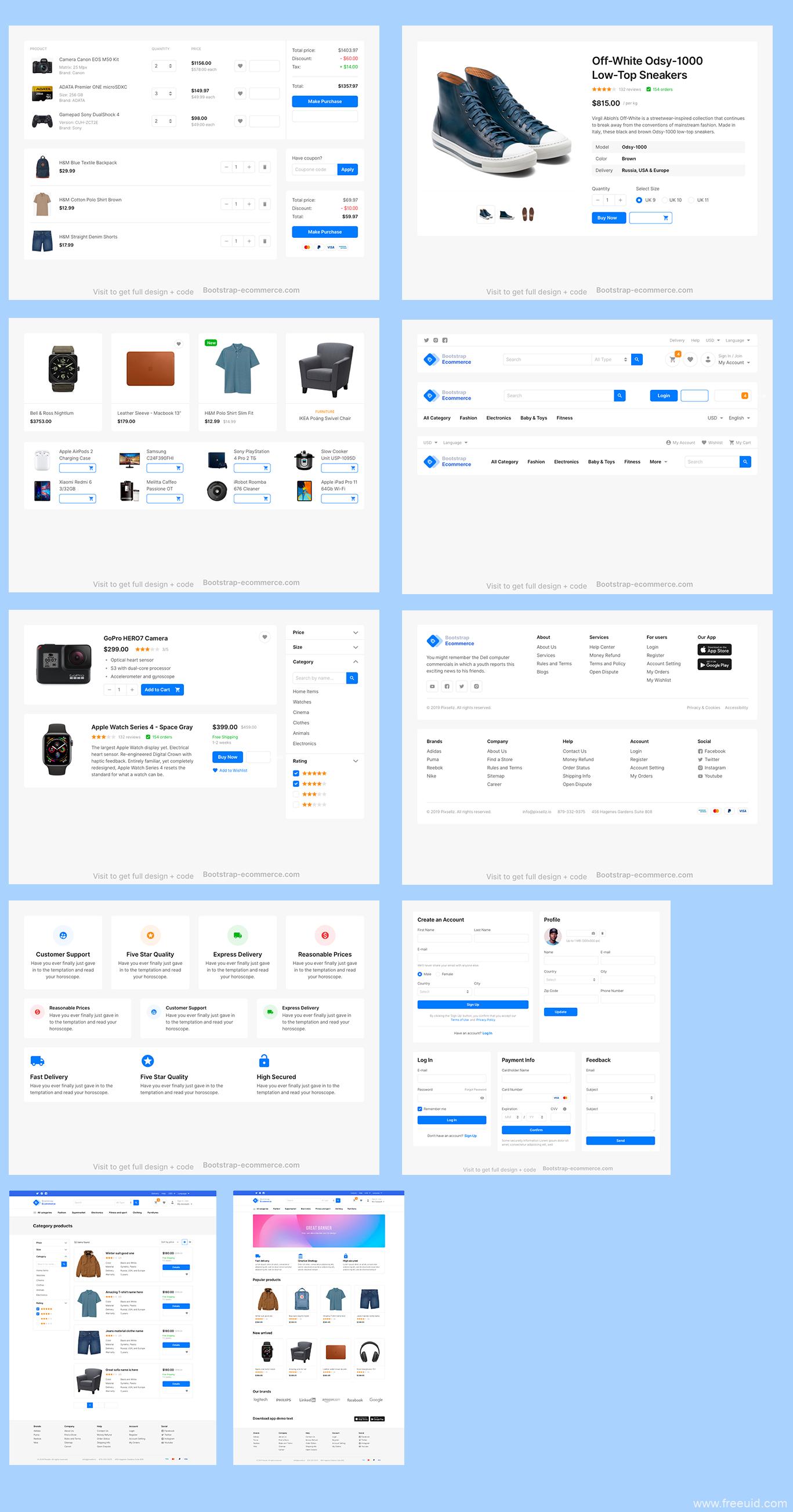 高端电商购物整套web界面sketch源文件下载