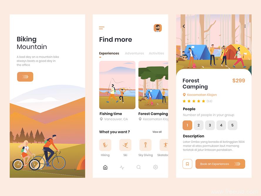 旅行应用程序UI界面、旅行插画风app应用sketch源文件下载