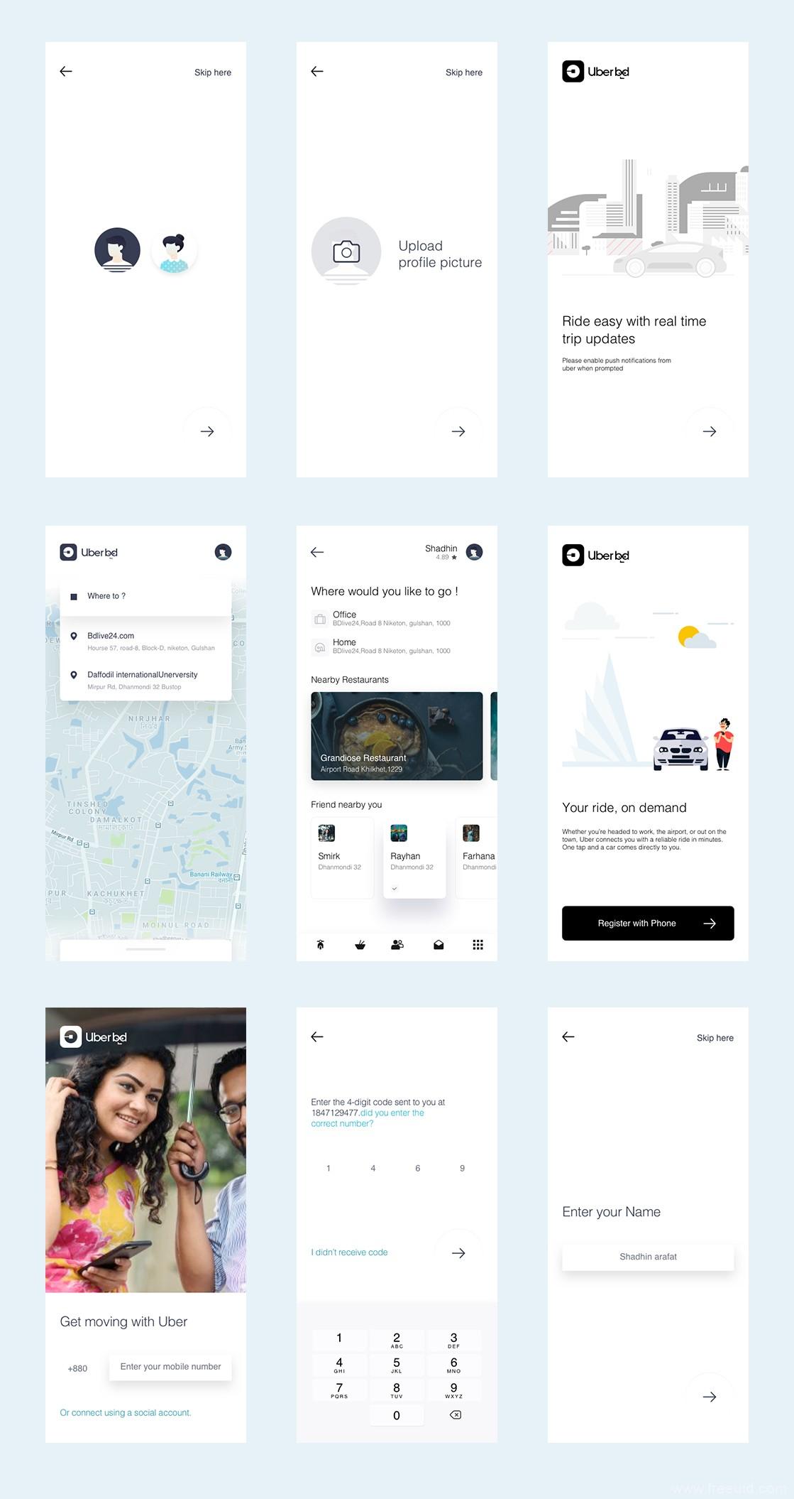 uber打车系统App界面、线上约车UI界面sketch源文件下载