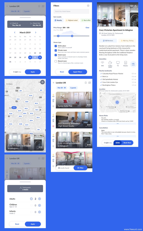 租房住宿UI应用界面、租房类app界面sketch源文件下载