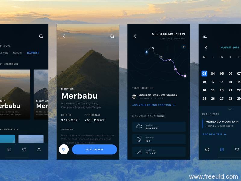 暗黑系UI界面、旅行应用界面sketch源文件下载
