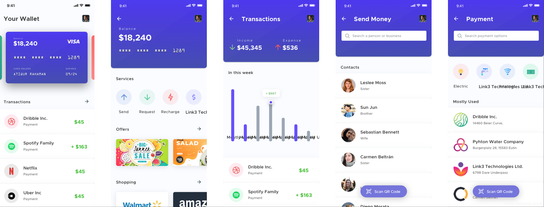 移动钱包概念应用UI界面设计、线上支付应用UI界面sketch源文件下载