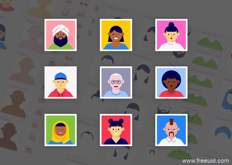 插画组件库、插画组件库系统 、人物插画sketch源文件下载