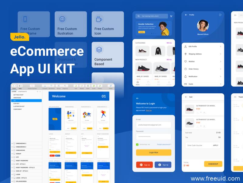 整套带交互电商app界面下载、电商app UI kit源文件下载