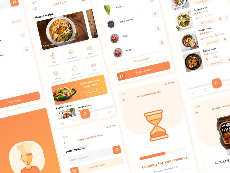美食应用UI界面、美食外卖UI界面sketch源文件下载