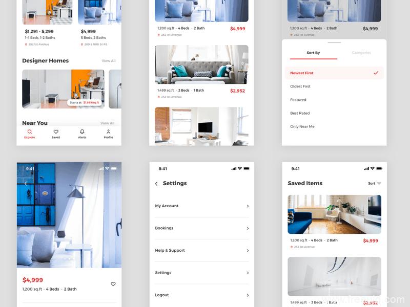 房地产应用概念UI界面、房地产系统APP界面房产sketch源文件下载