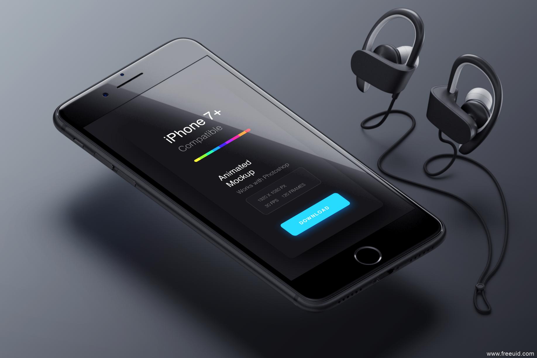 iphone 7+手机样机模板psd源文件下载