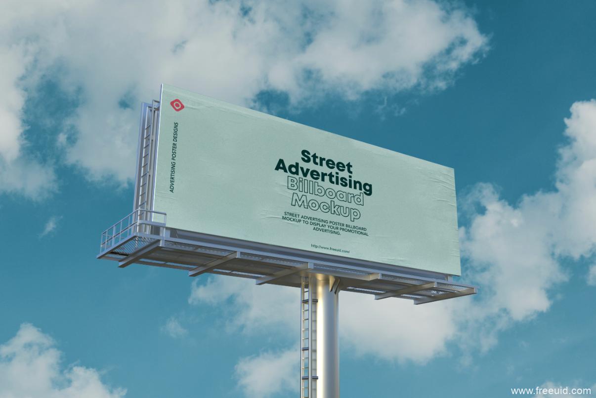 街头广告海报广告牌模型展示Psd源文件下载