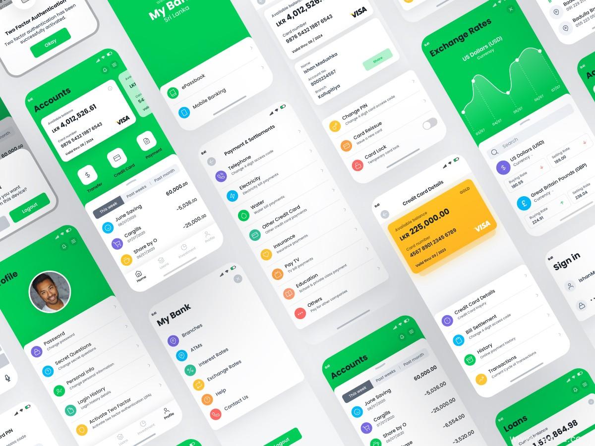 超完整金融理财银行APP UI资源下载,银行app UI素材下载,金融appUI源文件xd源文件
