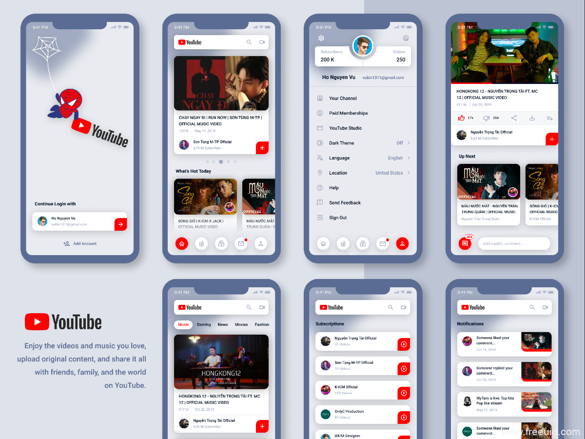 youtube重设计redeign,YouTube UI源文件,视频UI素材下载,figma源文件
