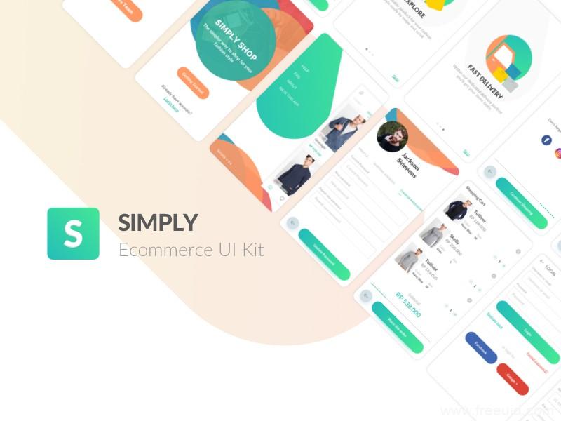 全套APP高端电商清新多界面时尚购物平台UI界面、UI kit sketch源文件下载