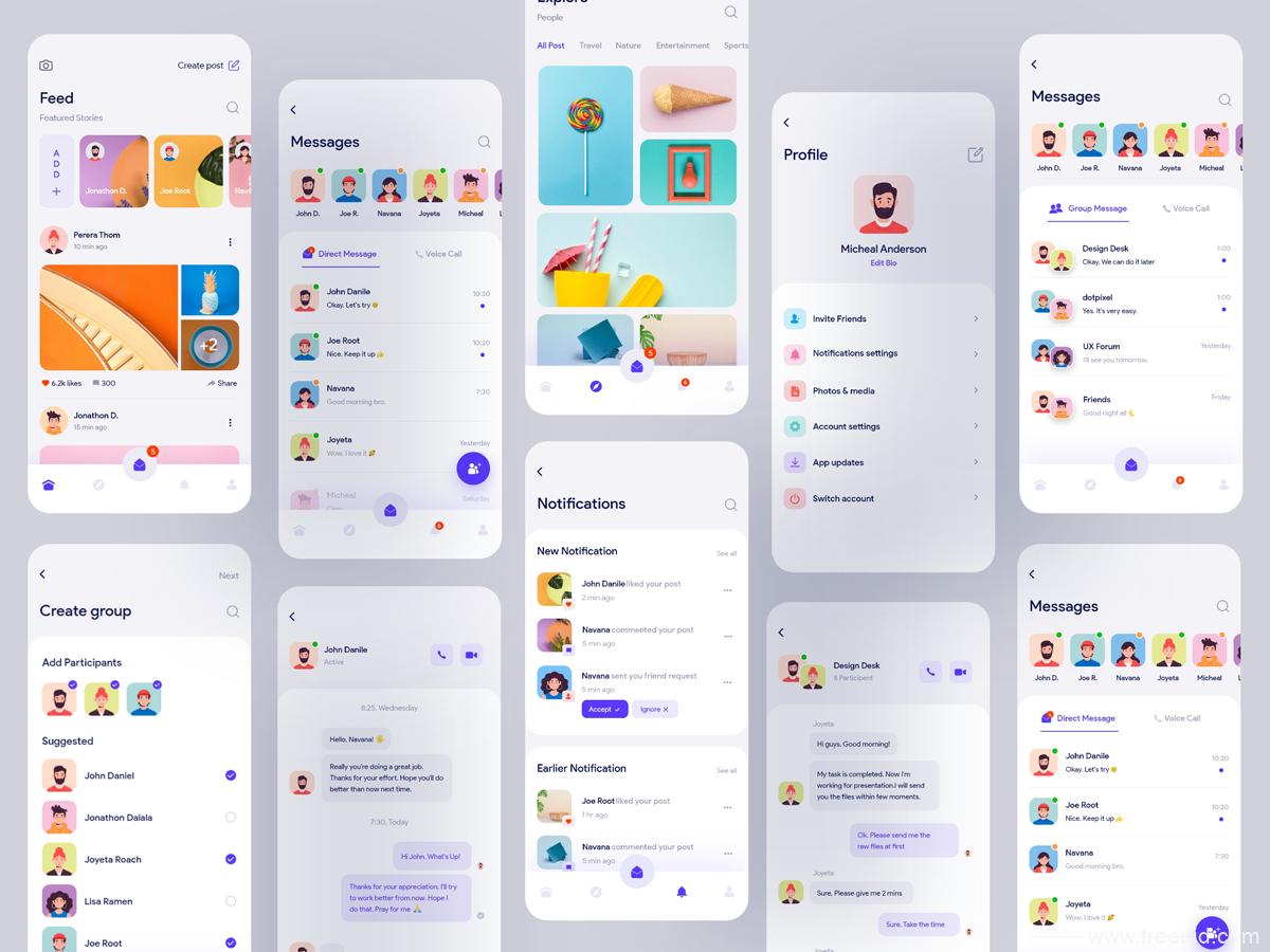 最新UI风格社交APP UI模板,交友app UI源文件,社交UI素材xd源文件下载