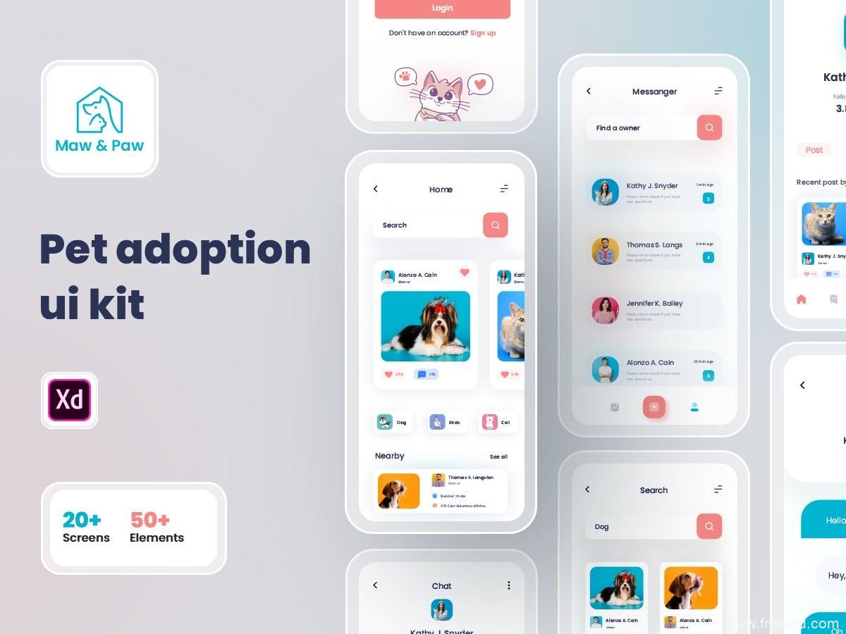 宠物APP UI模板,宠物领养app UI资源下载,宠物app UI源文件,宠物UI素材xd源文件
