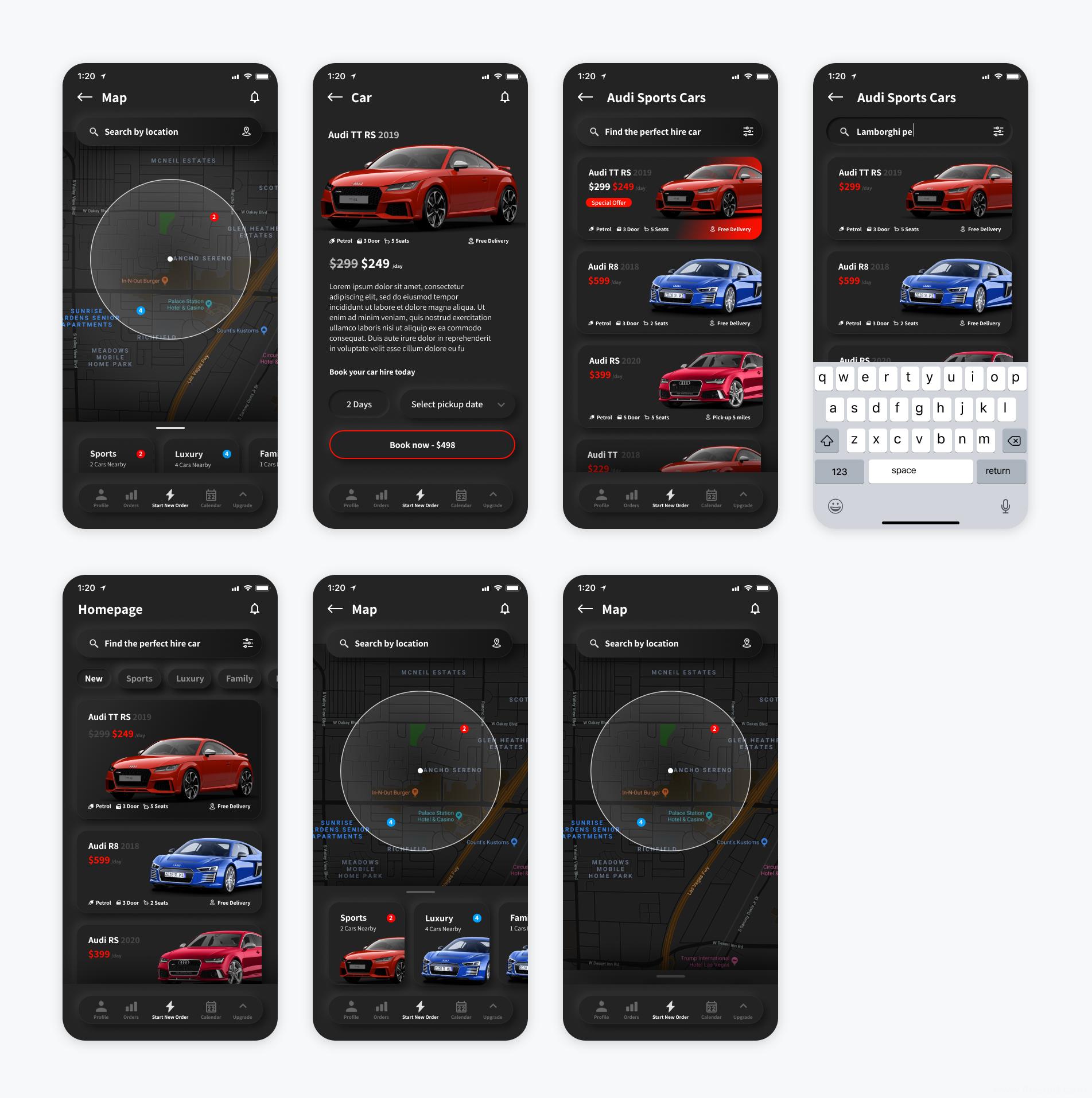 暗色模式Neumorphic新拟物UI模板,租车应用UI资源下载,租车UI源文件figma源文件下载