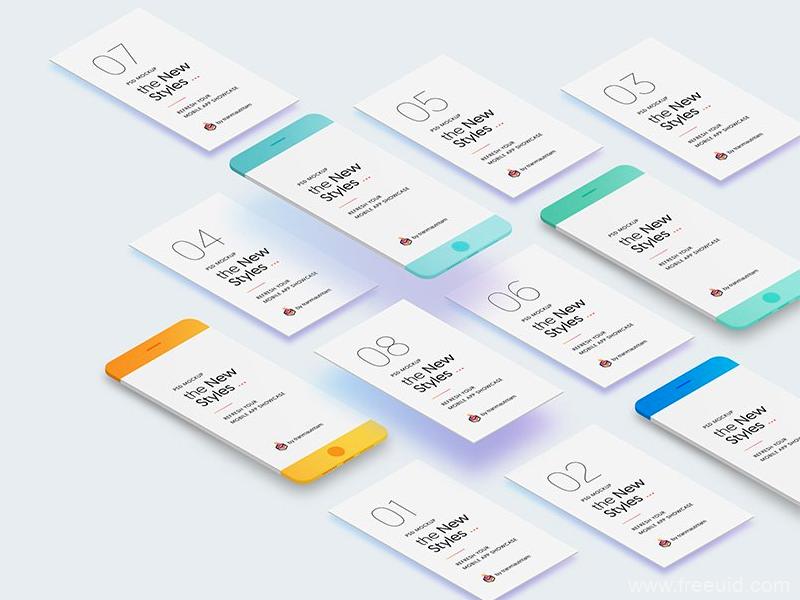 精品app UI展示样机模板,UI样机mockup源文件,UI样机psd源文件下载