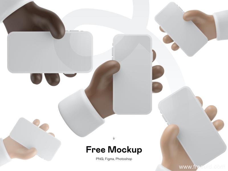 3D 手持iPhone12样机模板,3d手持iPhone12 mockup样机psd源文件,figma源文件