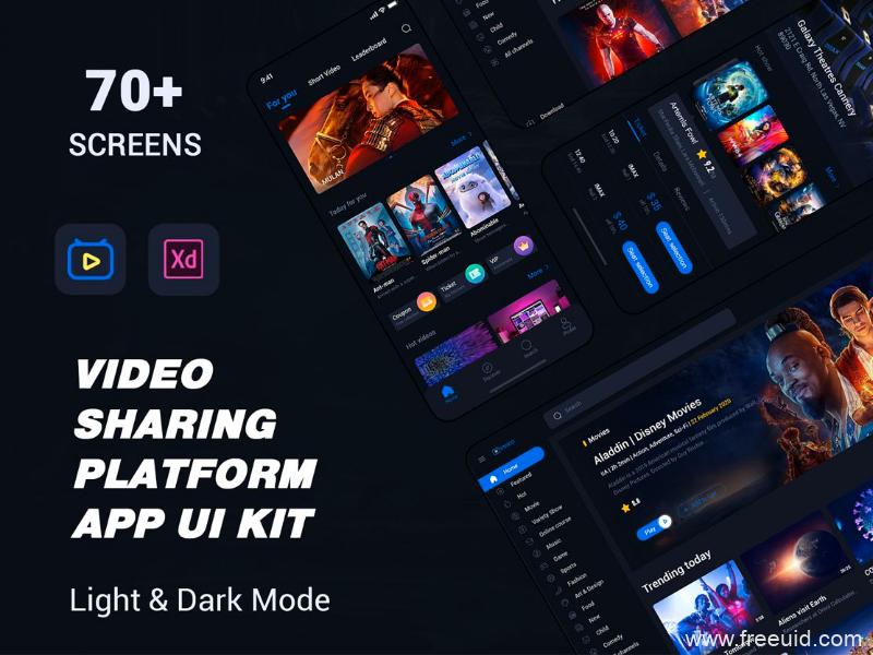 免费分享暗色系视频APP+PC双端UI源文件下载,电影短视频UI模板,dark mode电影购票UI资源UI素材xd源文件下载