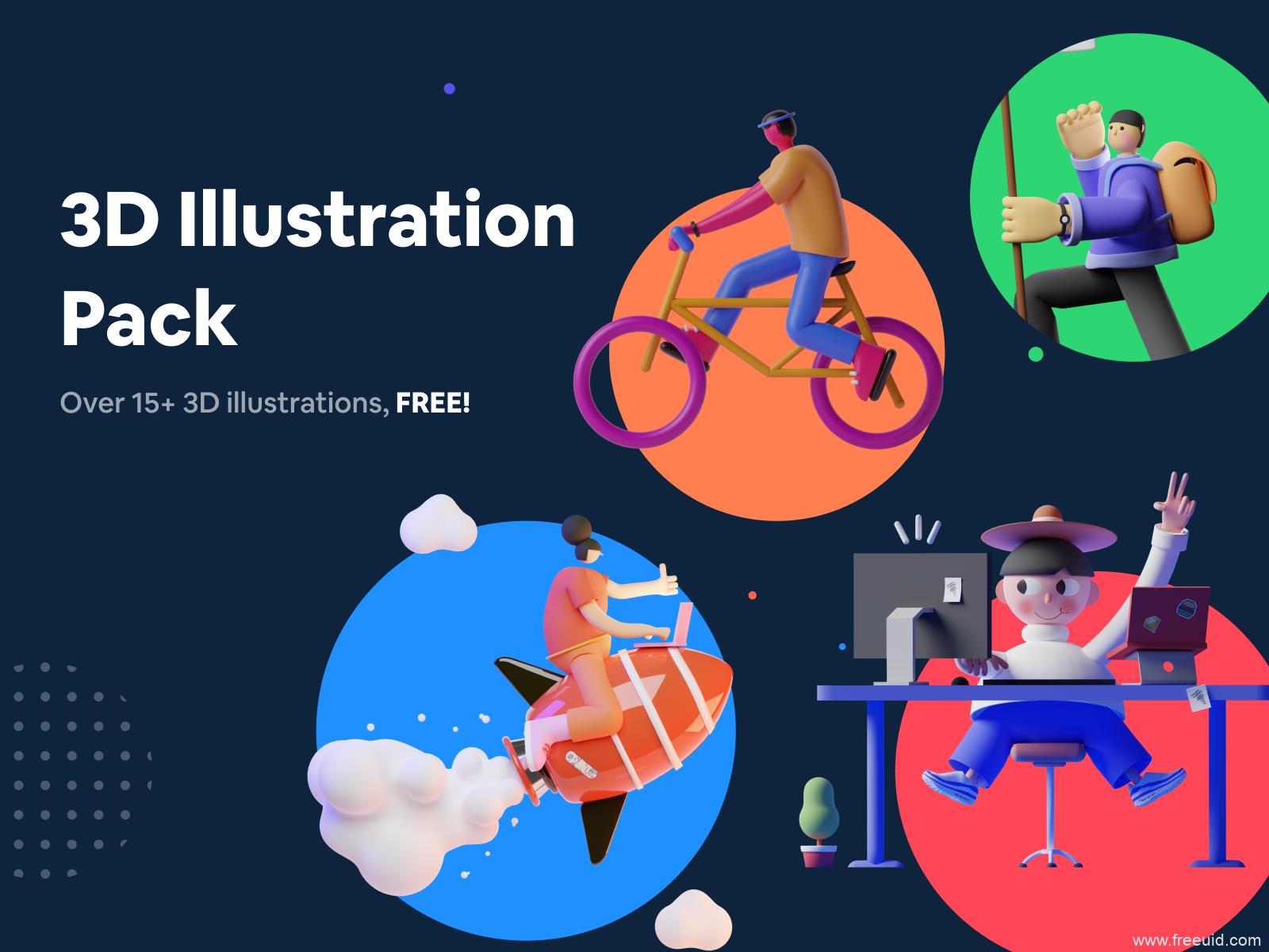 3D插画素材资源,C4D插画风人物插画组件UI kit下载,3D运营插画figma源文件下载