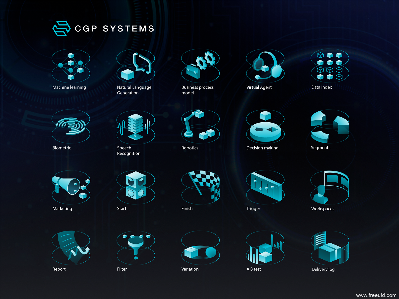 AI人工智能2.5D插画素材,人工智能大数据2.5D插画ai源文件下载
