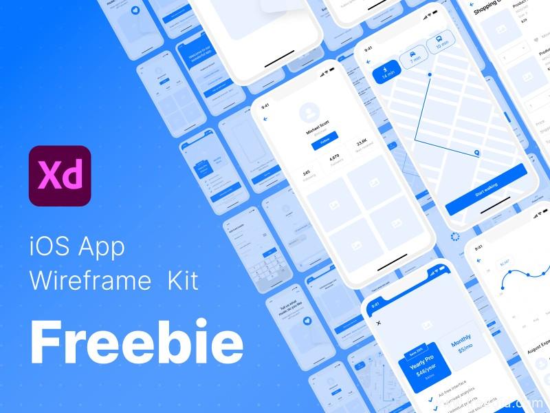 120个App UI线框图模板,UI原型图UI kit源文件,wrieframe UI源文件下载,原型图XD源文件下载
