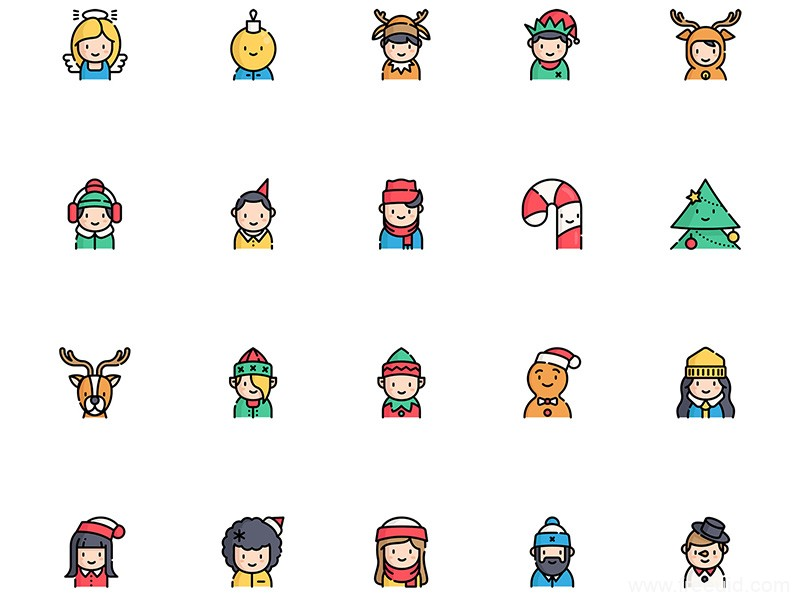 30枚圣诞图标,圣诞节头像图标icon源文件,sketch源文件下载