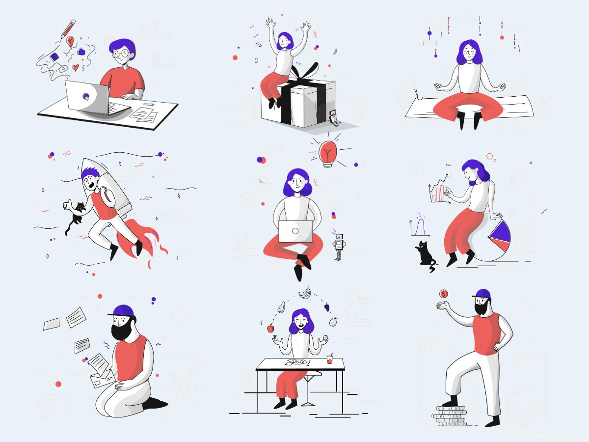 70组sketch插画,svg插画,UI插画场景源文件,运营插画70组sketch源文件下载