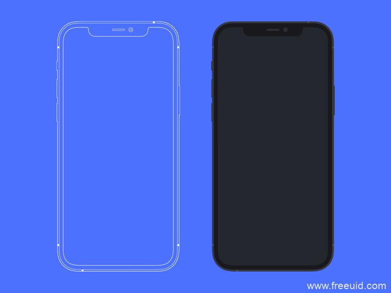 iPhone 12 Pro模型-平面和概述草图资源