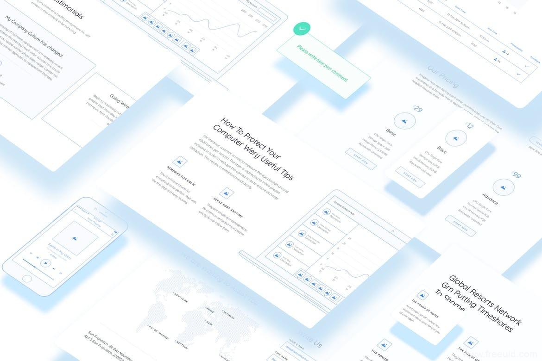超全网页设计原型图、线框图UI kit下载,网页设计原型图sketch源文件下载