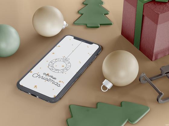 圣诞节场景iPhone样机mockup模板,圣诞节手机样机模板包装psd源文件