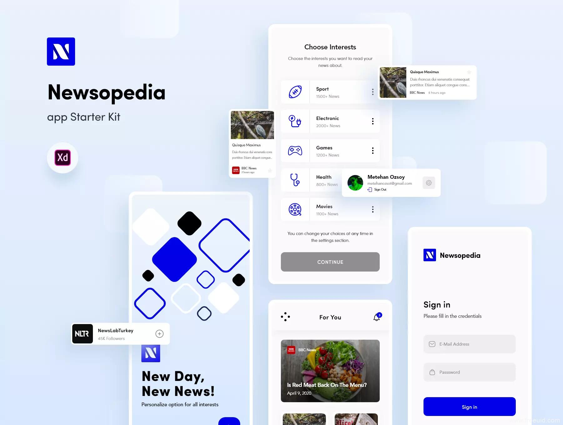 一套新闻资讯类应用 UI kit源文件,新闻app,媒体资讯app UI资源下载,xd源文件