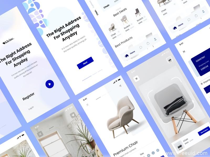 家具电商app UI源文件下载,一套家居商城app UI资源下载,家居电商UI素材xd源文件
