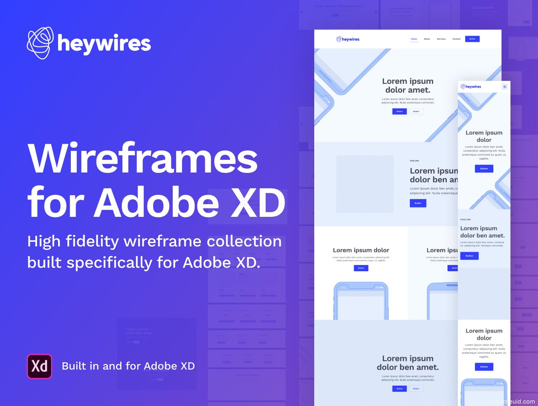 一整套通用网页设计原型图xd源文件下载,wireframes原型图xd源文件