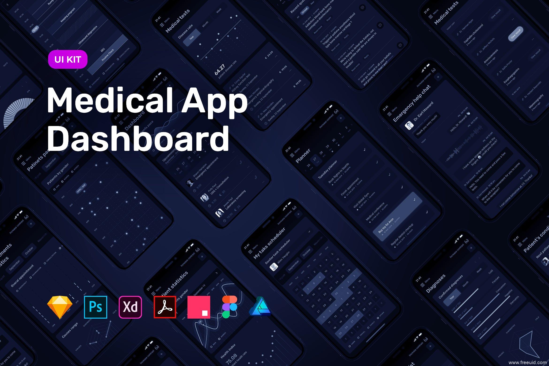 暗色模式医疗检测APP UI模板,dark mode移动端仪表盘dashboard UI界面源文件,数据可视化app UI资源下载,含xd、sketch、psd、fig多端源文件