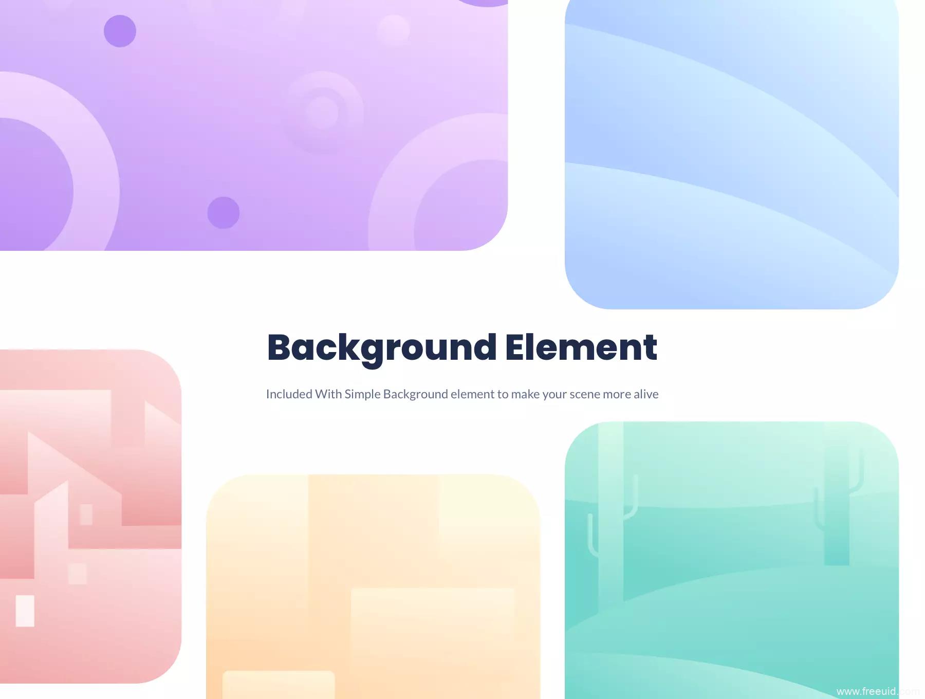 一套2D运营插画组件化kit源文件,人物、场景、道具插画系统组件 xd,svg,sketch,fig,ai源文件下载