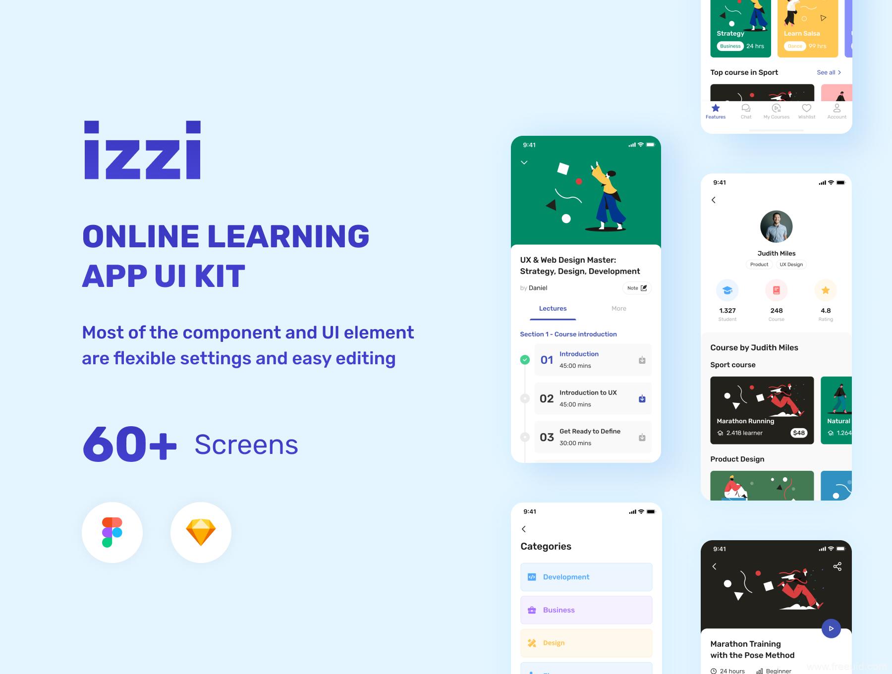 最新整套在线教育APP UI源文件,在线学习UI资源下载60多页知识付费app UI素材sketch、figma源文件